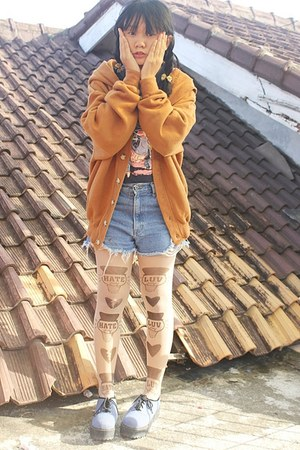 burnt orange wool Thrift Store cardigan - blue creepers shoes