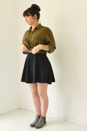 olive green Topshop blouse - black Topshop skirt