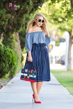 blue Zara shirt - navy Gucci bag