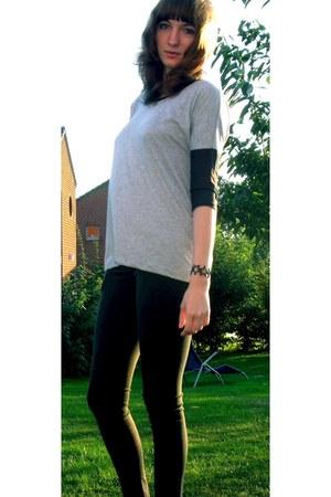 heather gray Primark sweatshirt - black skinny Pimkie jeans - black bracelet