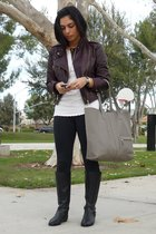 black ck boots - black leggings - white t-shirt - brown truth and pride jacket -