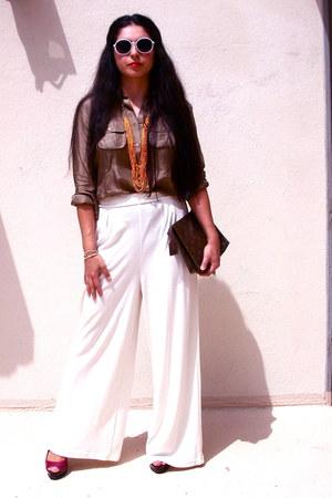 silk BarneysNY shirt - vintage LV bag - round glasses - cotton thrifted pants