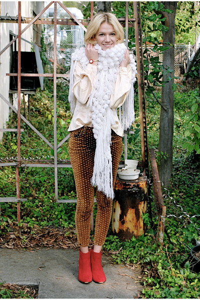 ivory vintage scarf - ruby red f21 boots - nude vintage blouse