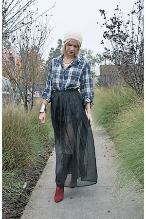 black sheer vintage skirt - brick red Via Spiga boots - ivory beanie random hat