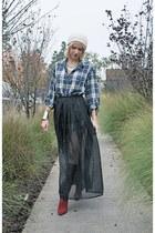 black sheer vintage skirt - brick red Via Spiga boots - ivory beanie random hat