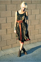 black bleached custom vintage dress - dark brown buckled booties Wet Seal boots