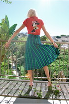 red angora vintage sweater - dark green plaid vintage skirt