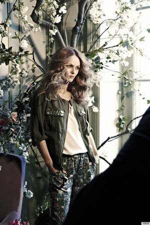 army green H&M jacket - ivory H&M top - army green floral H&M pants
