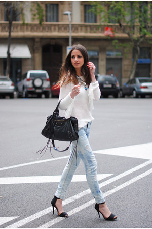 black Zara shoes - light blue Zara jeans - white Zara sweater