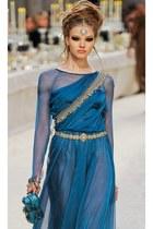 turquoise blue silk Chanel dress