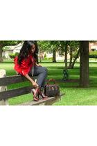 red Vintage Ralph Lauren blazer - silver vintage blouse blouse - Denim Jeans jea