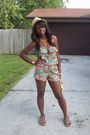 Multicolor-shorts-romper-shorts-beige-forever-21-hat-brown-old-navy-shoes-