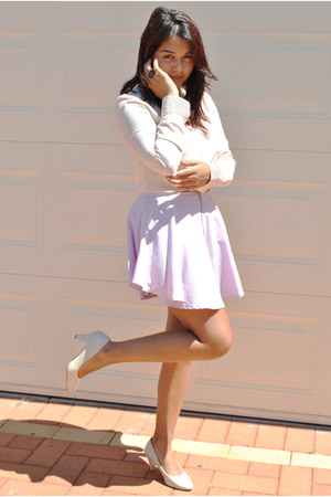 cream studded portmans shirt - light purple lilac skirt