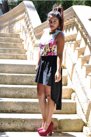 black assymetrical bardot skirt - maroon suede Wittner pumps