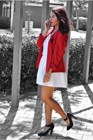 red red blazer Ojay blazer - white white skirt Forever New skirt - black heels