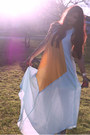 Light-blue-maxi-dress-cameo-dress-gold-gold-cuff-show-pony-bracelet