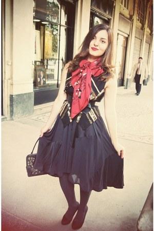 Hermes scarf - H&M skirt - YSL purse - vintage vest