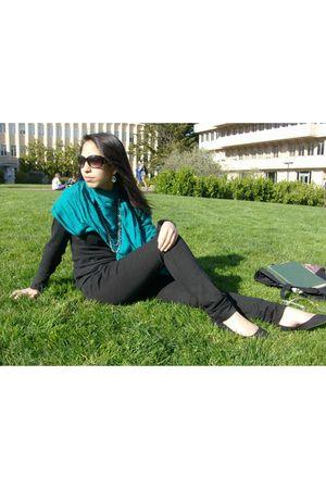 black Forever 21 jeans - black Kimchi Blue shoes - scarf - green Nordstrom neckl