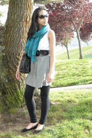 scarf - black Kimchi Blue - Forever 21 dress - black belt - black leggings