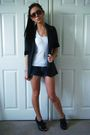 Gray-primark-blazer-white-topshop-top-blue-topshop-shorts-gold-accessorize