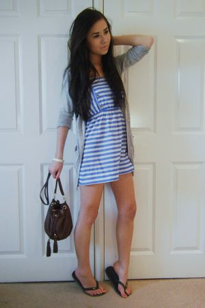 blue Primark dress - gray Primark cardigan - brown H&M purse - black Havaianas -