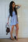 Blue-primark-dress-gray-primark-cardigan-brown-h-m-purse-black-havaianas-