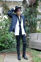 vintage from Ebay hat - Ray Ban glasses - H&M blazer - American Apparel t-shirt