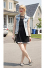 Black-ardene-purse-light-blue-denim-zara-vest