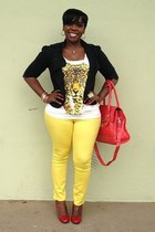 cream cheetah Wet Seal t-shirt - yellow skinny jeans Old Navy jeans