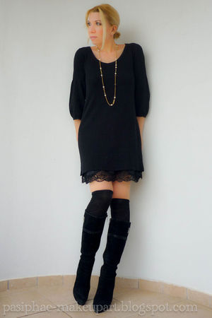 black dress - black socks - black boots - beige coat - gold necklace