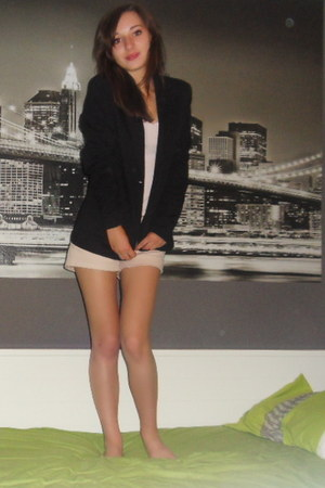 black jacket - neutral shorts - neutral top