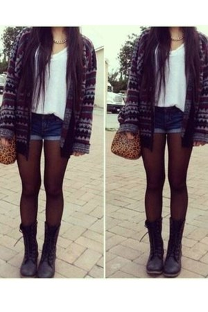 black boots - tights - bag - shorts - ivory top - patterned cardigan