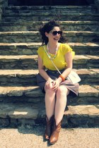 neon Zara shirt - vintage my moms candy necklace necklace