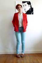 sky blue Zara pants - carrot orange H&M jacket - cream new look shirt