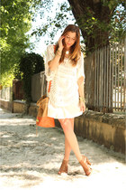 light orange H&M bag - ivory Zara blouse
