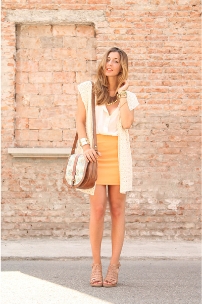 light orange H&amp;M skirt - ivory Fossil bag