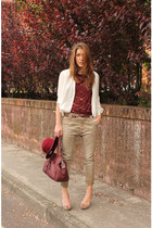 tan cycle jeans - brick red cycle blouse