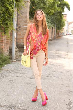 carrot orange ovs blouse - cream H&M bag