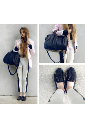 black studded loafers loafers - light pink second hand blazer - white Zara pants