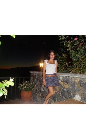 white Stradivarius top - blue Stradivarius skirt - brown Topeto belt