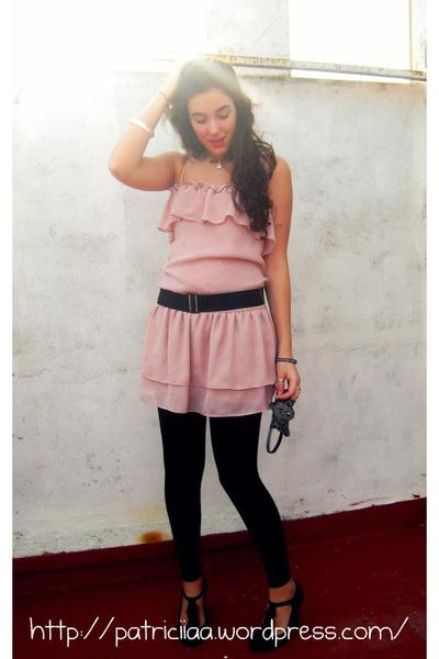 Pink Zara Dresses Black Hm Leggings Black Green Coast Shoes