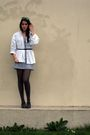 Gray-andre-shoes-black-h-m-tights-silver-mango-dress-vintage-jacket