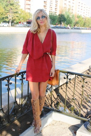 red dress - bronze boots - tawny bag