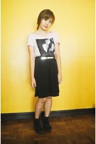 black skirt - black cinderella boots - bubble gum Billabong top