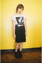 black skirt - black cinderella boots - bubble gum Billabong top