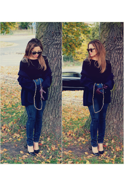 Karen Walker sunglasses - some velvet vintage belt - Jimmy Choo pumps