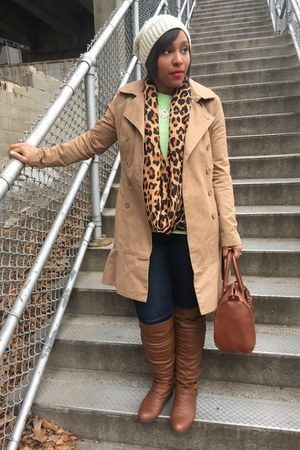 H&M scarf - Mandee boots - Forever 21 coat - Charlotte Russe hat