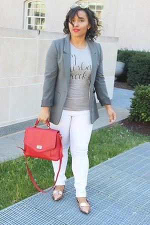 H&M blazer - H&M jeans - Forever 21 bag - Forever 21 flats
