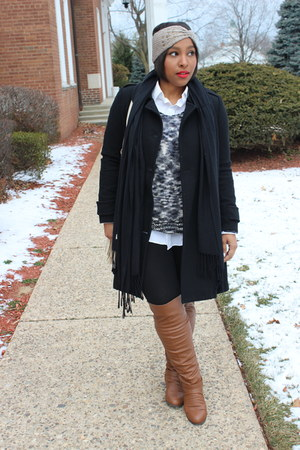 Stylesforless sweater - Mandee boots - H&M coat - Depshops hair accessory