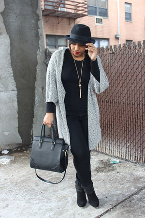 Heirloom Finds necklace - H&M hat - H&M bag - H&M cardigan